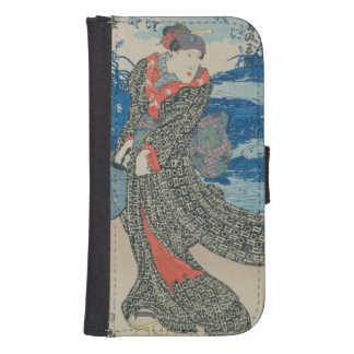 Japanese woman by the sea (colour woodblock print) samsung s4 wallet case