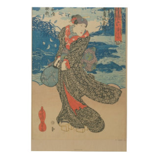 Japanese woman by the sea (colour woodblock print) wood canvas