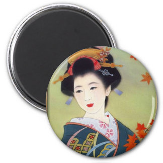 Japanese woman in blue kimono 6 cm round magnet