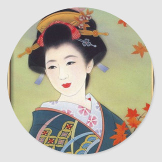 Japanese woman in blue kimono classic round sticker