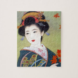 Japanese woman in blue kimono jigsaw puzzle
