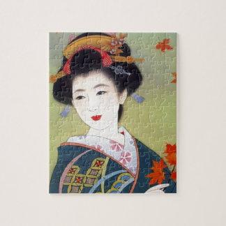 Japanese woman in blue kimono puzzle