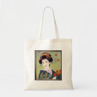 Japanese woman in blue kimono tote bag