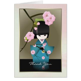 Japanese woman in Kimono and Sakura Thank you Card