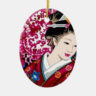 Japanese Woman in Kimono Ceramic Oval Decoration