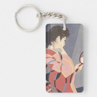 Japanese Woman in Kimono Holding A Hand Mirror Double-Sided Rectangular Acrylic Key Ring