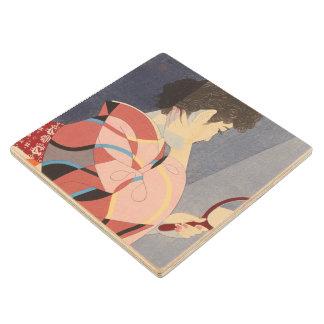 Japanese Woman in Kimono Holding A Hand Mirror Wood Coaster