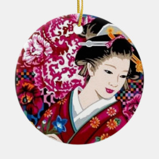 Japanese Woman in Kimono Round Ceramic Decoration