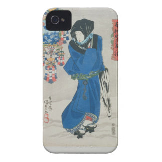 Japanese Woman in the Snow (colour woodblock print iPhone 4 Case