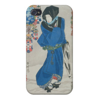 Japanese Woman in the Snow (colour woodblock print iPhone 4/4S Cases