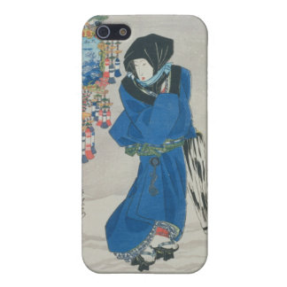 Japanese Woman in the Snow (colour woodblock print iPhone 5/5S Case