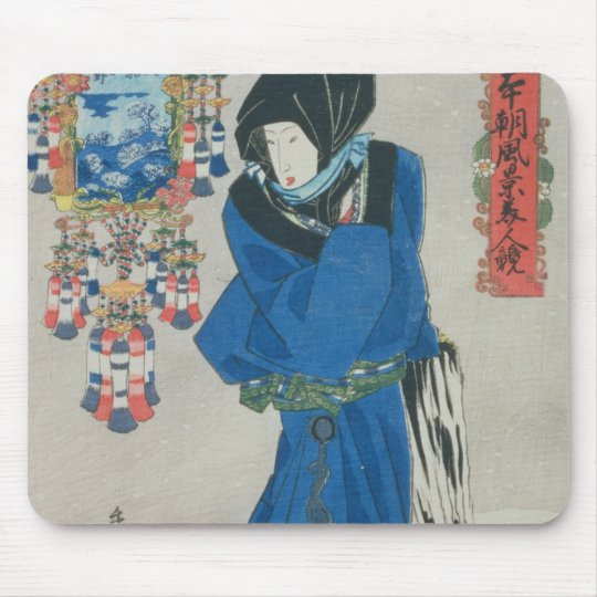 Japanese Woman in the Snow (colour woodblock print