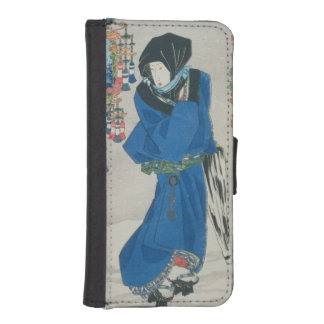 Japanese Woman in the Snow (colour woodblock print Phone Wallet Cases