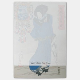 Japanese Woman in the Snow (colour woodblock print Post-it Notes