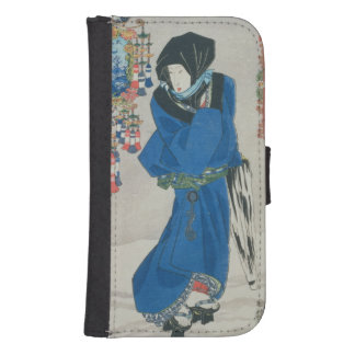 Japanese Woman in the Snow (colour woodblock print Samsung S4 Wallet Case