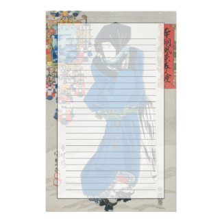 Japanese Woman in the Snow (colour woodblock print Stationery