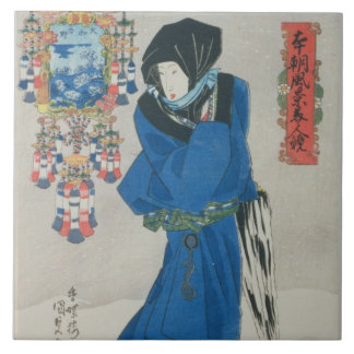 Japanese Woman in the Snow (colour woodblock print Tile