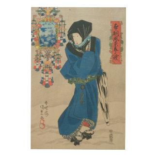 Japanese Woman in the Snow (colour woodblock print Wood Canvases