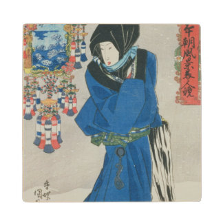 Japanese Woman in the Snow (colour woodblock print Wood Coaster