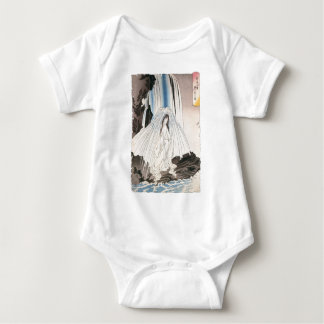 Japanese Woman in Waterfall, Ancient Japanese Art Baby Bodysuit