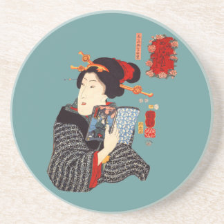 Japanese Woman Reading 2 Drink Coasters