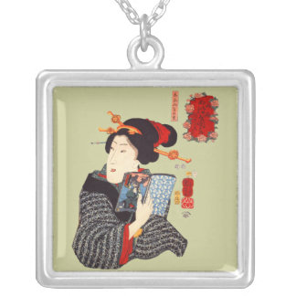 Japanese Woman Reading 2 Silver Plated Necklace