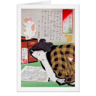 Japanese woman with Cat, Tsukioka Yoshitoshi Card