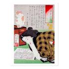 Japanese woman with Cat, Tsukioka Yoshitoshi Postcard