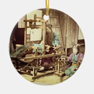 Japanese women weaving, c.1890 (hand-coloured phot round ceramic decoration