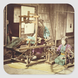 Japanese women weaving, c.1890 (hand-coloured phot square sticker