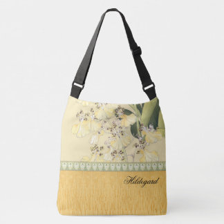 Japanese Wood Block Print Leopard Orchids Crossbody Bag