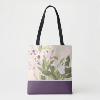 Japanese Wood Block Print Orchid Tote Bag