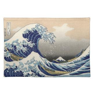 Japanese Woodblock: Big Wave off Kanagawa Place Mats