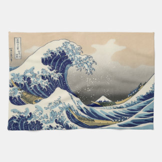 Japanese Woodblock: Big Wave off Kanagawa Tea Towel