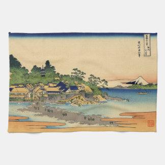 Japanese Woodblock: Enoshima in Sagami Province Kitchen Towels