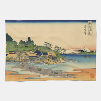 Japanese Woodblock: Enoshima in Sagami Province Tea Towel
