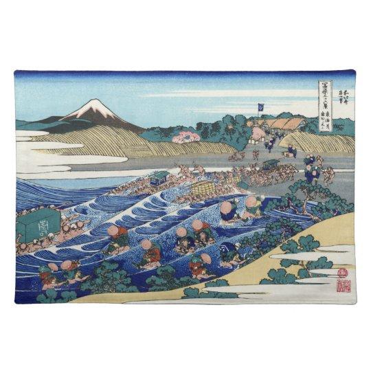 Japanese Woodblock: Fuj from Kanaya on Tokaido Place Mats