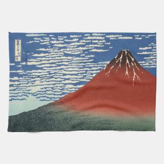 Japanese Woodblock: Red Fuji Southern Wind Tea Towels