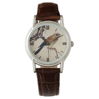 Japanese Woodcut of a Finch, Brown and Beige Wrist Watch
