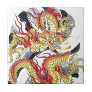 Japanese Yellow Dragon Small Square Tile