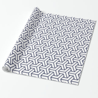 Japanese Yukata Jinbei Bishamon navy blue on white Wrapping Paper