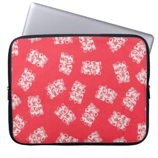 Japanese Yukata Textile, Maneki Neko (Lucky Cat) Laptop Sleeve