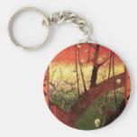 Japonaiserie Plum Tree Hiroshige -Vincent van Gogh Basic Round Button Key Ring