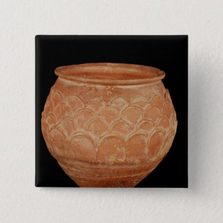 Jar decorated with overlapping applied scales 15 cm square badge