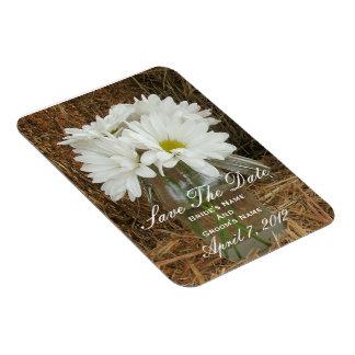 Jar Of Daisies In Hay Wedding Save The Date Vinyl Magnet
