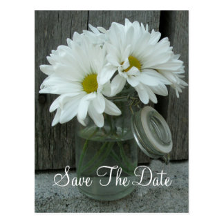 Jar of Daisies Wedding Save The Date Postcards
