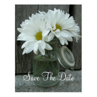 Jar of Daisies Wedding Save The Date Postcard