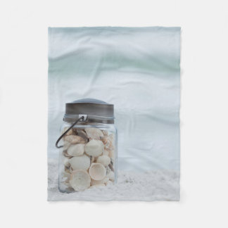 Jar Of Seashells On The Beach   Florida Fleece Blanket
