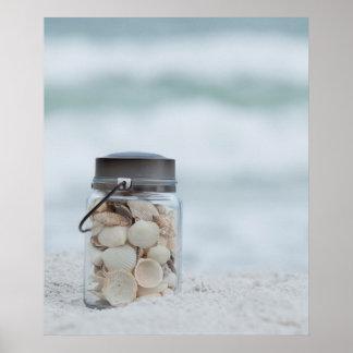 Jar Of Seashells On The Beach | Florida Poster