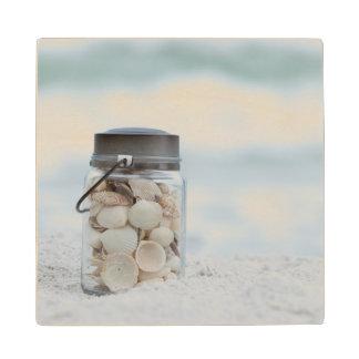 Jar Of Seashells On The Beach | Florida Wood Coaster